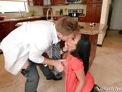 Horny with an increment of lusty brunette enjoys hither giving her new boss