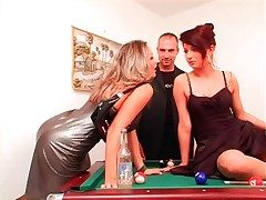Toper skirt fools around concerning another on pool table