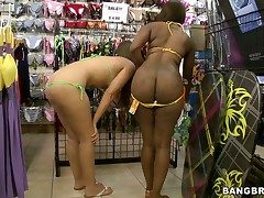 Ebony and tow-headed attempt outside bikinis in a