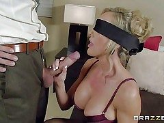 Busty lingerie-clad mummy Brandi Enjoy is blindfolded to make her