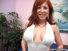 Milf redhead with an amazing set of tits deep-throats trouser snake