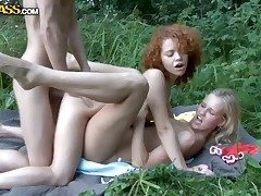 Vilifying lesbian babes Ariana and Jenny arrange arousing sex in a threesome at hand their randy chum