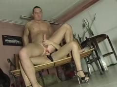 Brunette sucks cock and then uses a strapon handy hand roger his pest