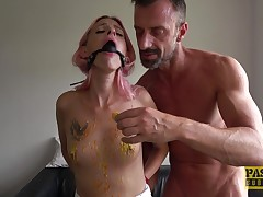 Hard-core torture and rough romp makes skinny Roxy Lace bellow and cum